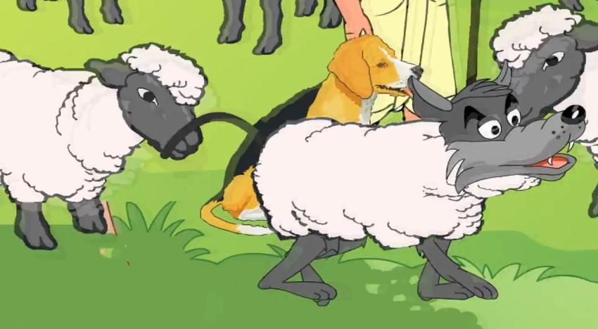 นิทานอีสปภาษาอังกฤษ หมาป่าคลุมด้วยหนังแกะ